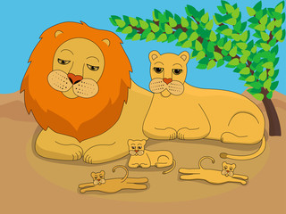 Illustration of a family of lions in the wild. A lion, a lioness and three cubs walk in the shade of a bush. Wildlife painting for children. A family of lions while relaxing.