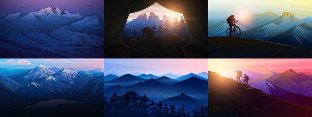 Aluminium Prints Night blue Set of layered mountains for poster. Dark blue landscape and sunset. Hiking and camping concept. Fog in a Swiss valley and forest. Vector Background. Traveler exploring the Austrian Alps.
