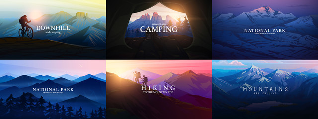 Set of layered mountains for poster. Dark blue landscape and sunset. Hiking and camping concept. Fog in a Swiss valley and forest. Vector Background. Traveler exploring the Austrian Alps.