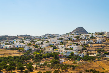 Panoramic view of Plaka village in Milos island in Greece
