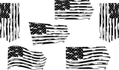 Distressed american flag set eps Clip Art