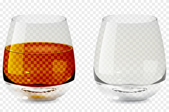 Whiskey tumbler glass transparent icon vector illustration