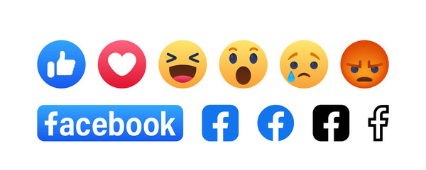 Facebook button set of 6 Emoji Reactions and letters f. Vinnitsa, Ukraine - August 22, 2019
