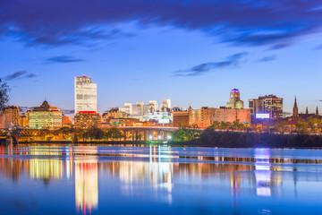 Fotomurales - Albany, New York, USA skyline on the Hudson River