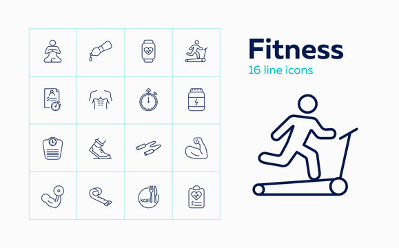 Fitness icons. Set of line icons on white background. Gym, exercise, sports equipment. Training concept. Vector can be used for topics like sport, healthy lifestyle, wellbeing