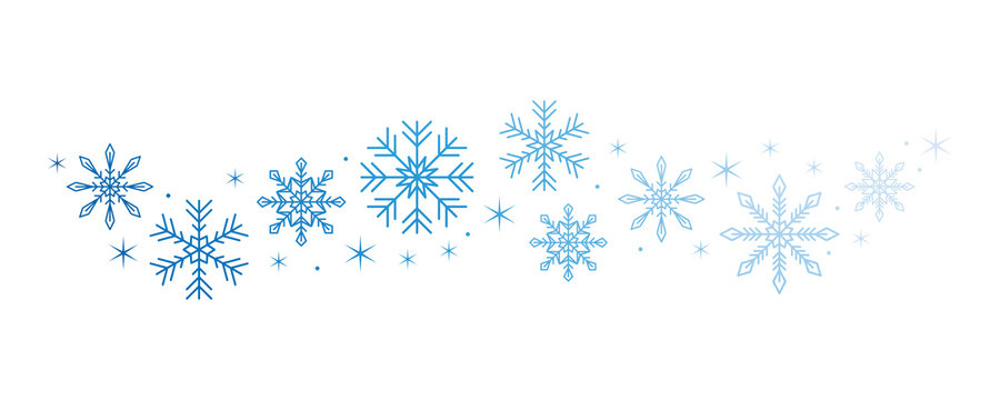 bright snowflake and stars border isolated on white background vector illustration EPS10
