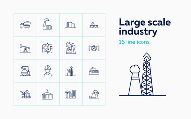 Large scale industry line icon set. Engineer, factory, oil derrick. Urban and business concept. Vector illustration can be used for topics like business, modern life, industry