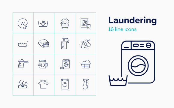 Laundering line icon set. Foam, soap, powder, basing. Laundry concept. Can be used for topics like garment care, service, home appliance
