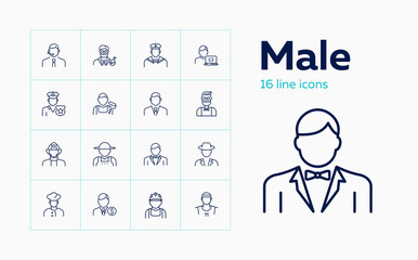 Male line icon set. Blue collar, farmer, police officer, businessman. People concept. Can be used for topics like job, occupation, labor