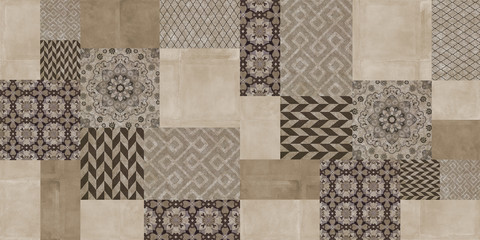 Tuinposter Retro Beige and brown perfect patchwork vintage background