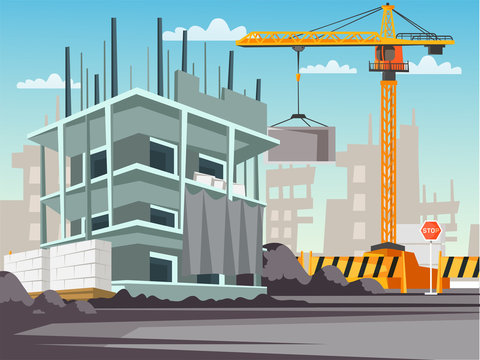 Construction site flat vector illustration