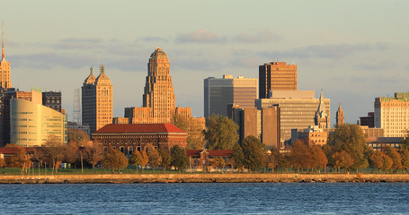 Buffalo, New York skyline across Niagara River