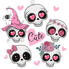 Cute Cartoon skulls with flowers and hearts