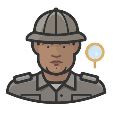 anthropologist black male avatar icon