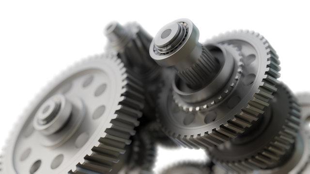 Gear metal wheels close-up. 3D ollustration