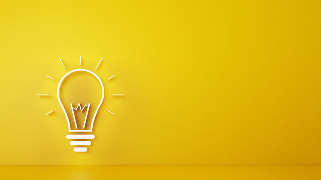 Big bulb light on a yellow background. 3D Rendering