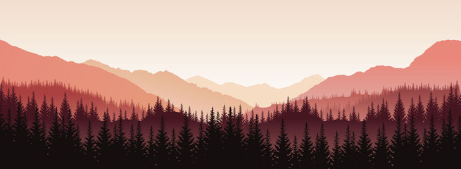 Vector panoramic landscape with red silhouettes of trees and hills Wall mural
