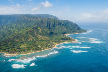 Beautiful aerial view of the kauai napali coast (Hawaii)