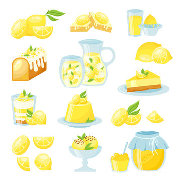 Lemon desserts flat vector isolated illustrations set