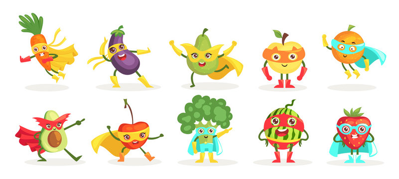 Vegetables superheroes flat vector characters isolated set