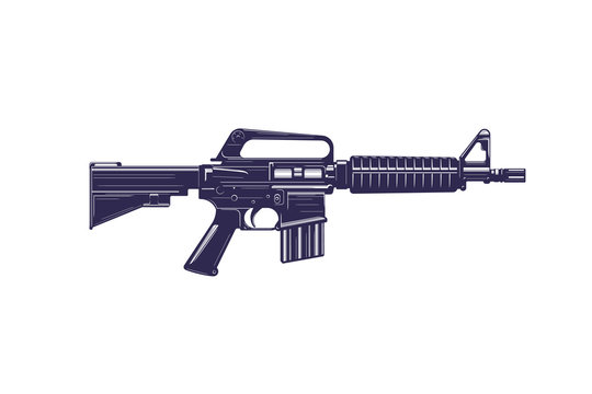 machine gun used in Vietnam war, vector