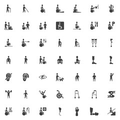 Disabled vector icons set, modern solid symbol collection, filled style pictogram pack. Signs, logo illustration. Set includes icons as disabled man with walker, handicapped patient, wheelchair ramp