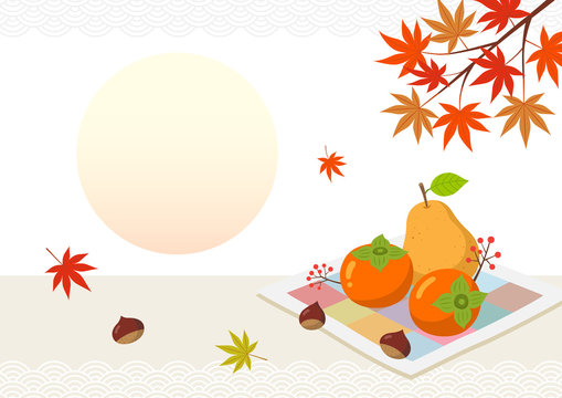 Autumn fruits and maple leaves.Mid-Autumn Festival. Chuseok Background