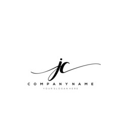 JC initial handwriting logo vector.