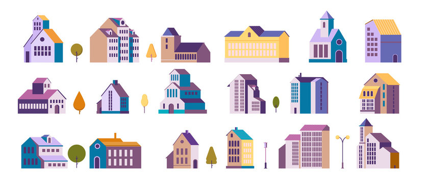 Apartment houses vector illustrations set. Residential buildings design elements collection. Isolated flat vector illustration on white background.