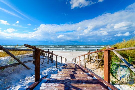 Entrance to sandy Bialogora beach on coast of Baltic Sea, Poland