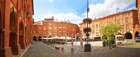 Place Nationale is a place located in the city of Montauban in France. Rebuilt in the 17th century after two fires, it is the heart of the city