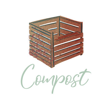 Trash bin for compost. Organic waste theme. Illustration for home food processing and compost, organic waste, zero waste, environmental problem.