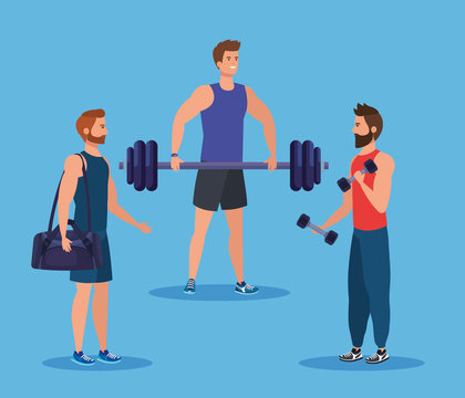 set of fitness men with bag and weight with dumbbells