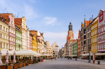 Wroclaw, capital of Lower Silesia. Historic town square at down