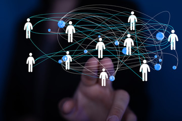 Diverse business team succes, network icons