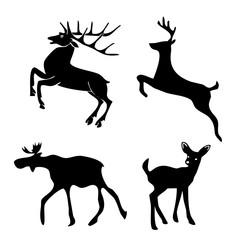 Collection of silhouettes of Black deer graphics set on white background. Picture illustration for your cute design and your project.
