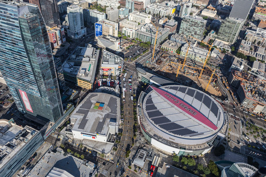 Aerial view of Staples Center, LA Live and nearby construction on August 6, 2016 in Los Angeles, California, USA.