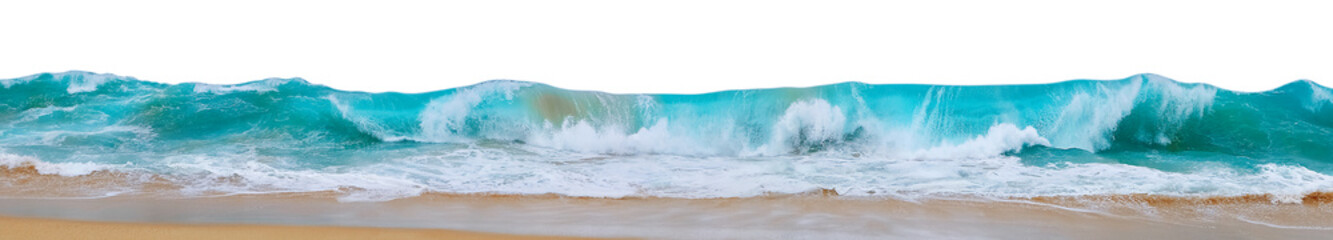 Wall Mural - Powerful ocean waves with white foam isolated on a white background. Wide format.