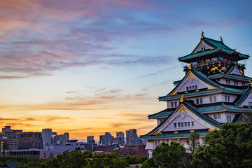 夕焼けの大阪城