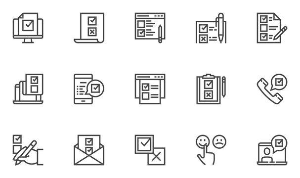 Survey vector line icons set. Rating, checklist, questionnaire results, internet test. 48x48 Pixel Perfect.