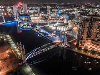 Media City Manchester UK at Night