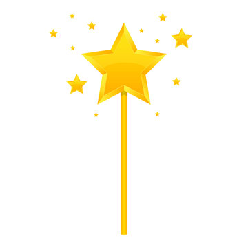 Golden magic wand vector design illustration isolated on white background