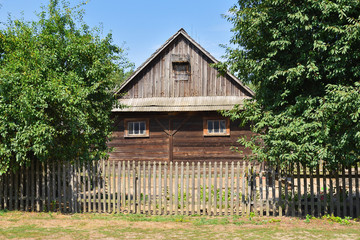 Old wooden house in The Folk Culture Museum in Osiek, the open-air museum covers an area of 13 ha. Poland, Europe