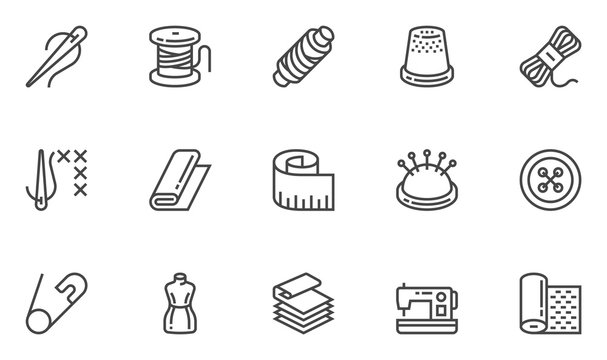 Sewing vector line icons set. Needlework, stitching, sewing machine, measuring tape, wool. Editable stroke. 48x48 Pixel Perfect.