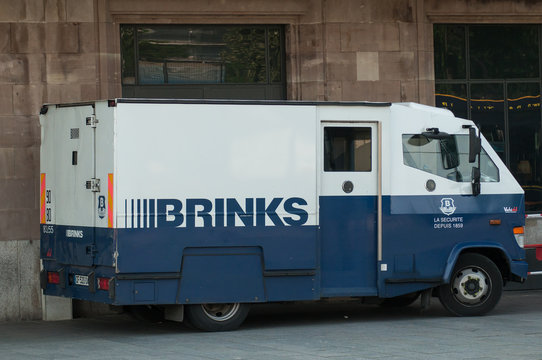 Mulhouse - France - 14 June 2018 - brinks truck parked in front of train station