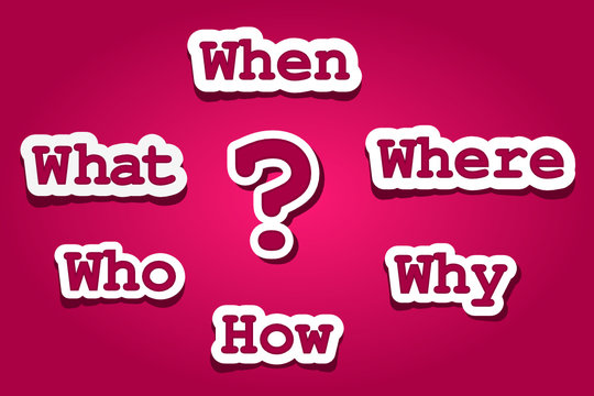 Question mark with questions: Who, what, where, when, why, how. Asking questions. Having answers. Ask us, contact us, more information, research, concept. Vector illustration, pink background