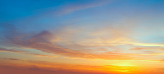 Foto op Canvas Zonsondergang Real panoramic sunrise sundown sky with gentle colorful clouds