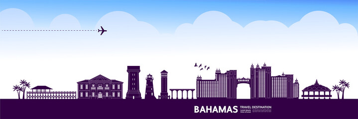 Fototapete - Bahamas travel destination grand vector illustration.