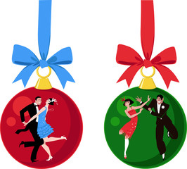 Wall Mural - Christmas ornaments with couples dressed in 1920s outfits dancing the Charleston, EPS 8 vector illustration