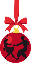 Wall Mural - Christmas ornaments with silhouette of a couple dancing Lindy Hop, EPS 8 vector illustration
